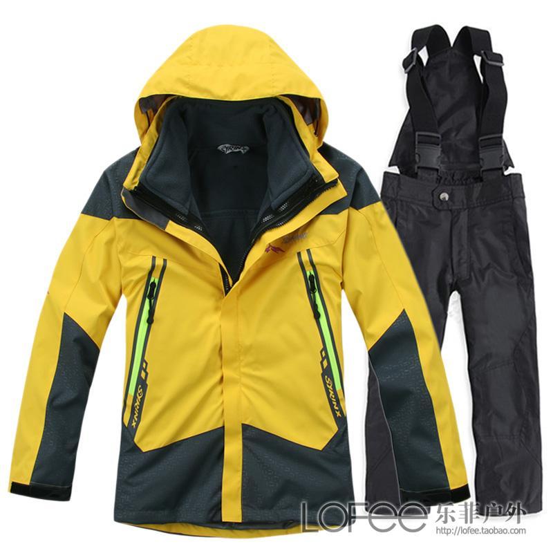Зимняя верхняя одежда качества двухсекционный hardshell тройной ветрозащитный костюмы для девочек и мальчиков лыжный костюм