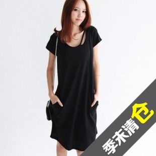 Women's Clothing 2013 summer new Korean fashion bottoming skirt round neck short sleeve cotton fashion double Dresses skirt