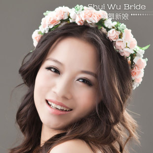 Water Dance bridal headdress flower seaside Patty star models encryption ribbon garland bracelet B0237