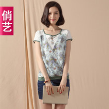 Qiao art in the summer of 2014 with new fake two splicing ornamental engraving floral order button to cultivate one's morality short sleeve T-shirt female 2024