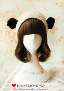 Panda ears overjoyed handmade peach handmade pure wool yarn broadside hair bands hair band Korea