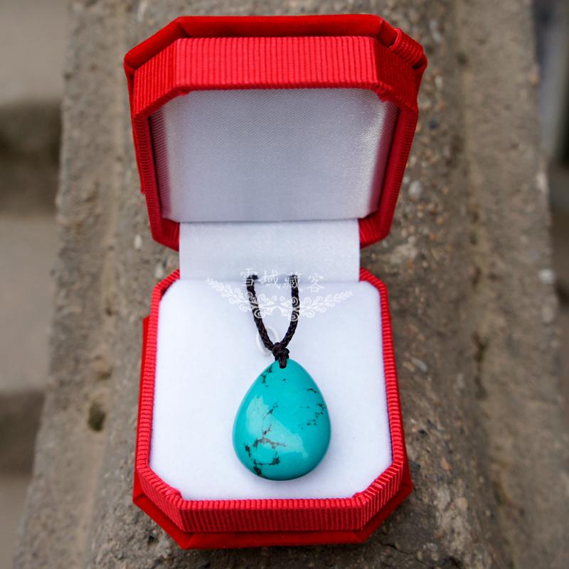纯天然绿松石吊坠时尚复古水滴项链可调节绳手工民族风饰品女