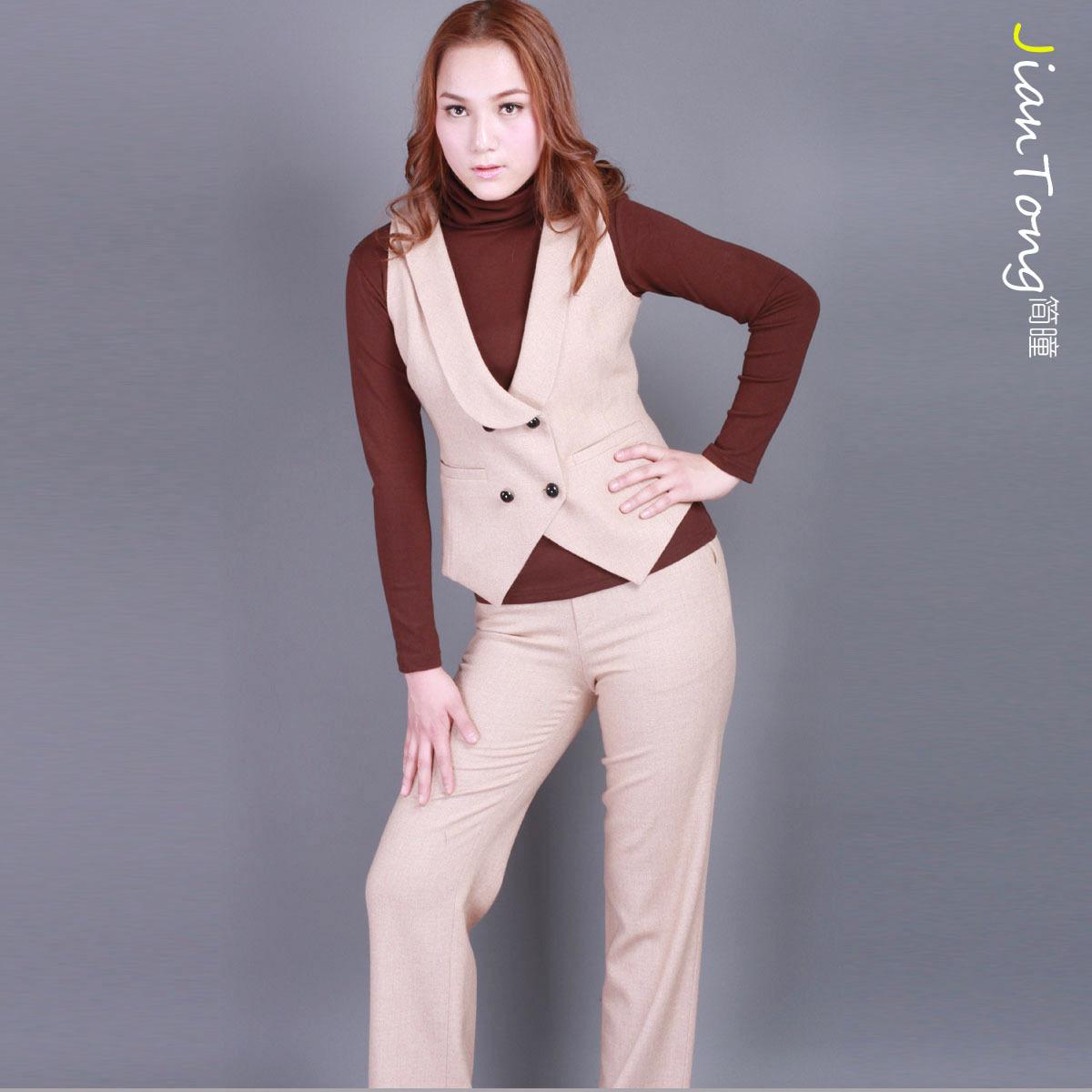 【Tmall狂欢节】秋装大码新品短袖外套长裤职业女裤套装特价2014