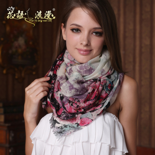 Ms florid autumn and winter pure wool scarf digital printing thick warm scarf shawl dual long