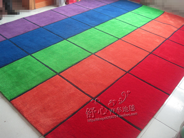 Childrens kindergarten crawling pad red orange green blue purple square carpet can be customized with logo reading area game pad