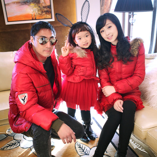98 yuan two parents installed a family of three girls in a red 2014 winter coat thicker Full Decoration mother and daughter