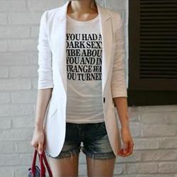 2014春装新款女装 韩版修身一粒扣显瘦棉麻料长袖小西装白色西服