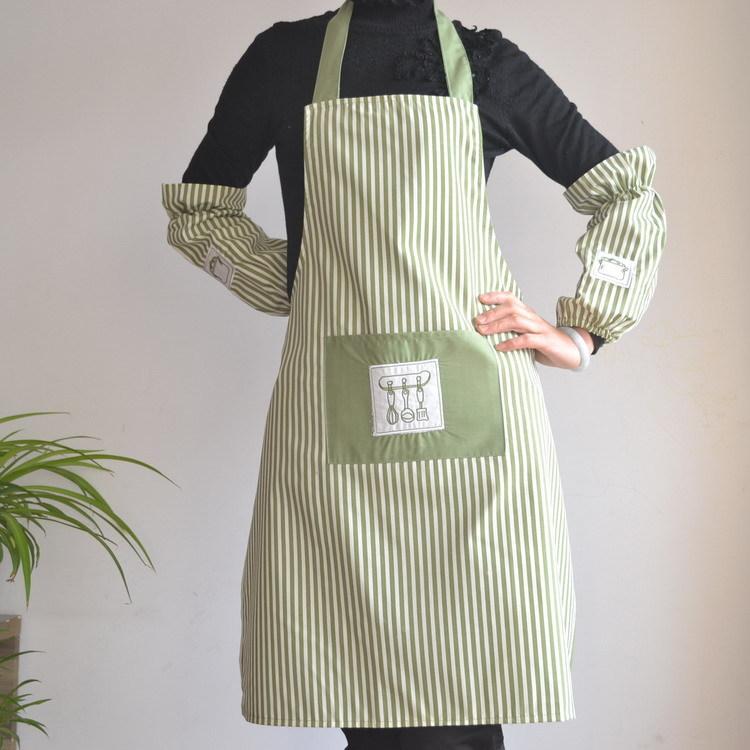 满20元可用5元优惠券典冠布艺条纹韩版+袖套厨房围裙