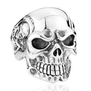 Punk 925 large silver skull ring Men s ring domineering personality exaggerated Thai Silver fashion jewelry tide male