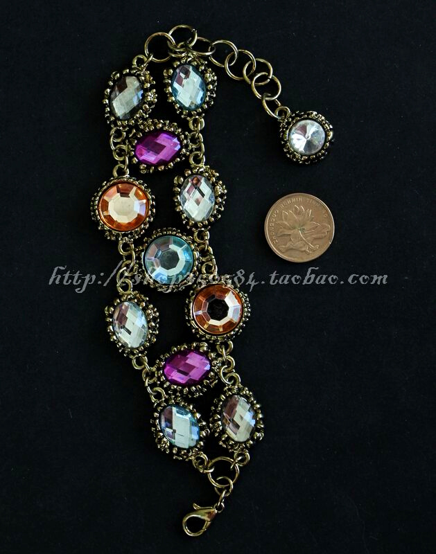 Antique classic wide bracelet with bright gemstone texture