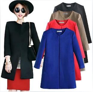 2013 новый простой в корейской версии тонкий дамы пальто длиной вокруг шеи полушерстяные пальто