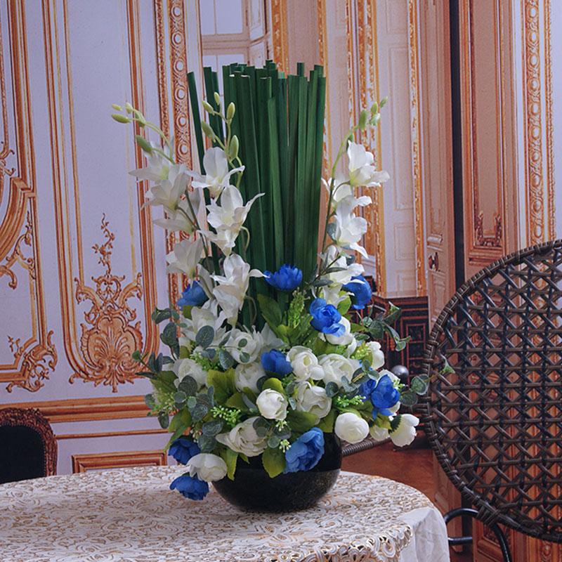 Сельские китайские розы цветочный potted завод моделирования цветочные композиции для европейского стиля украшения дома вашей гостиной столовый набор