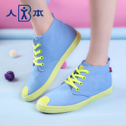 This fall 2015 fluorescent breathable canvas colour matching patch tidal shoes students high heeled shoes