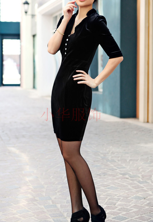 2012秋季新款白领中腰七分袖立领女装大码纯色通勤中裙套头连衣裙