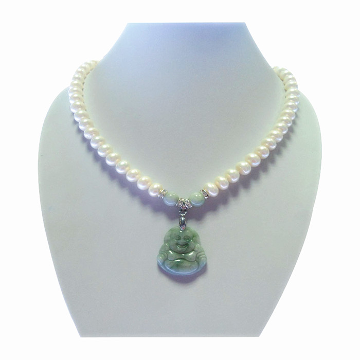 8-9-10mm natural pearl Jadeite Jade Buddha Pendant Necklace for mother and mother in law