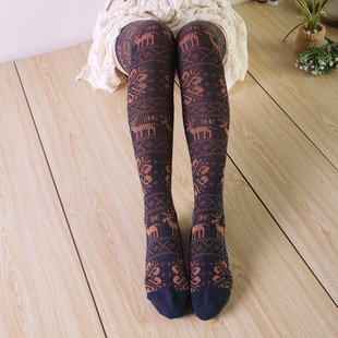 More than one trade Tall cotton knee socks piles of socks retro pattern deer super elastic stockings stovepipe legs boots