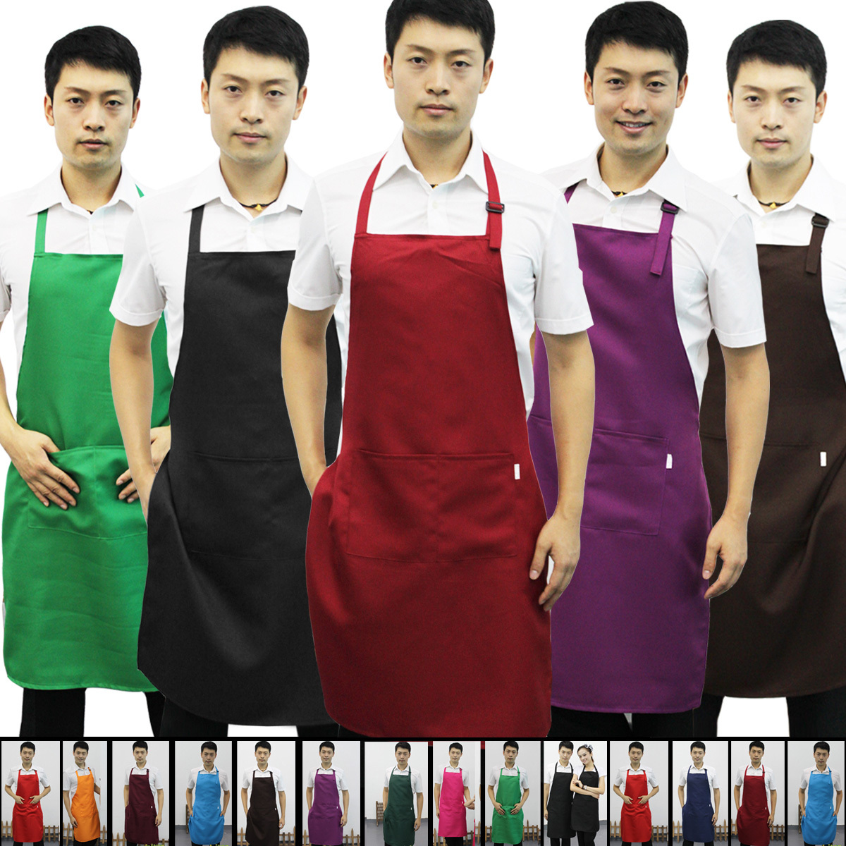 Restaurant home lovers mens aprons Korean fashion kitchen cleaning and anti fouling work clothes waistband full of 100 bags of mail