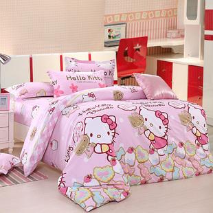 儿童家纺全棉卡通印花床笠床单四件套三件套单双人床上用品4件套
