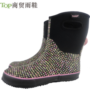2015 New France oxaya black shoes breathable boots cow boots tube Ms Brown dots dwarf water shoes