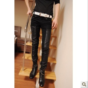 2013 spring new Korean Slim leather pants new Korean men s fashion casual leather pants leather pants men trousers tide