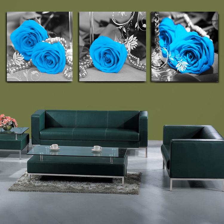 Голубая роза цветок кристалл фильм распределения коробки настенные росписи картина украшение живопись фотография кадра стены часы гостиной тройной