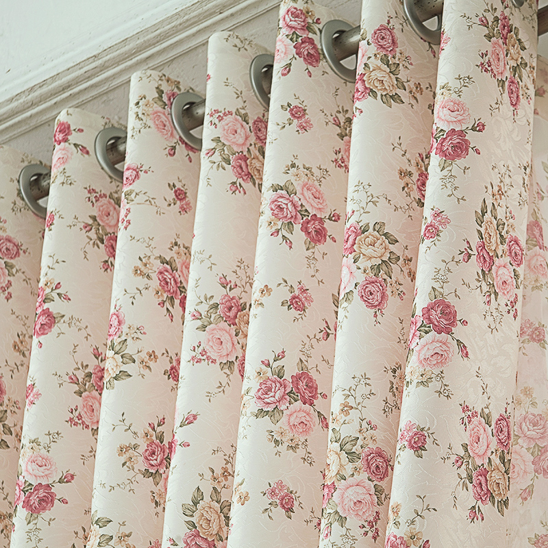 簾簾有餘簡約 臥室客廳碎花田園窗簾成品窗紗飄窗落地窗布定製