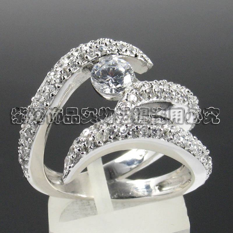 Three line full diamond ring SILVER RING 925 Sterling Silver women silver micro Set Ring Bridal Jewelry Silver Ring