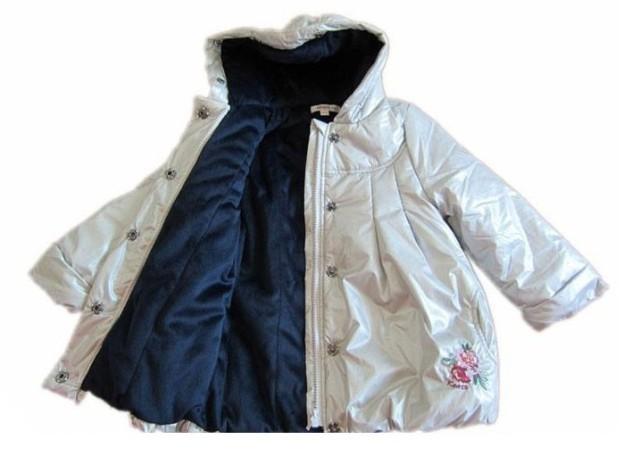 Детская одежда новый Кэндзо хлопка пальто девушки серебра тонкий хлопок ватки выстроились водонепроницаемая куртка вышивки пальто