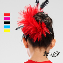 Latin Dance Feather headdress new childrens dance headdress Latin dance accessories head Flower Brooch Accessories
