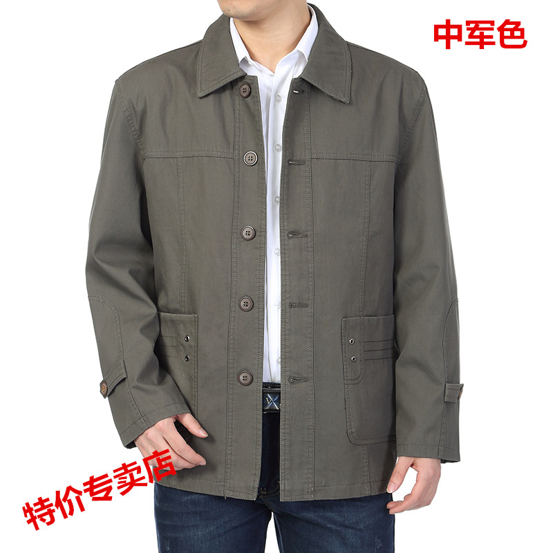 Spring and autumn mens jacket middle aged mens jacket middle aged mens cotton Lapel single breasted jacket