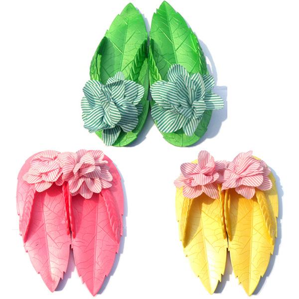 Новые листья летом случайных милые цветы скользить женщин флип флопе плоские сандалии и обувь Тапочки женские сандалии