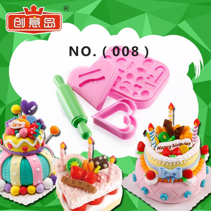 创意岛 超轻粘土儿童彩泥无毒橡皮泥创意DIY生日蛋糕模具工具008