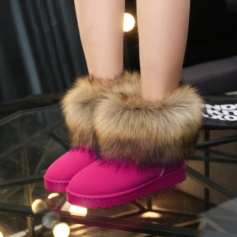 MS анти-занос обувь чтобы согреться в зимний и кашемировых 2015 новые приливных плоских снег сапоги загрузки короткие трубки Зимние Сапоги зимние сапоги