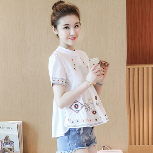 2017 summer new national wind embroidery loose thin wild female student short-sleeved cotton shirt blouse doll