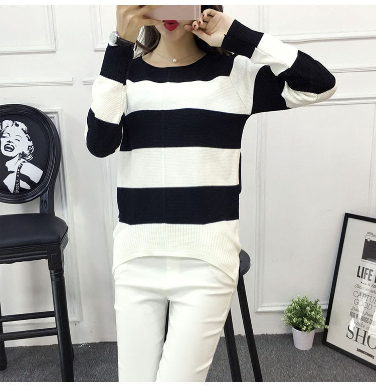 2017 spring and autumn womens clothing Korean new striped long sleeve Pullover Sweater slim versatile womens sweater bottom coat