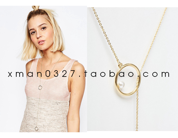 Minimalist design cos other stories style geometric hollow stitching Pearl Ring Necklace long chain