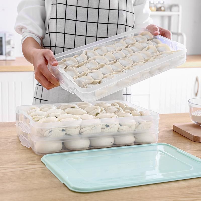 饺子盒冻饺子家用冰箱保鲜收纳托盘多层放鸡蛋冷速冻水饺馄饨盒子