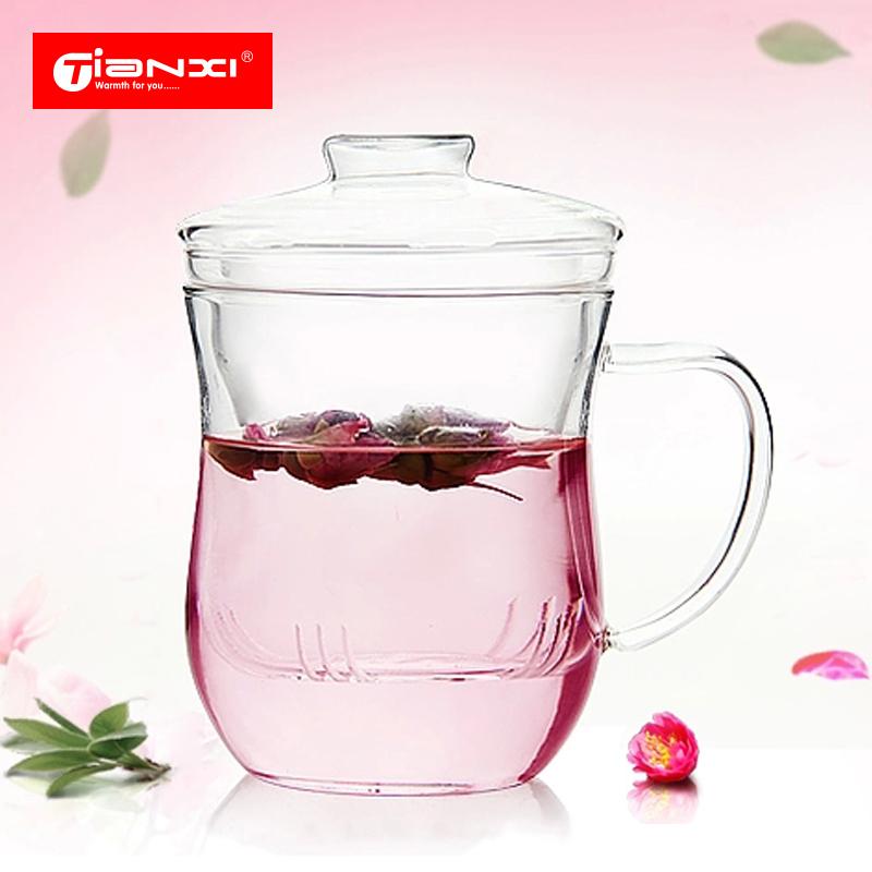 天喜玻璃杯 花茶杯透明過濾泡茶杯女水杯杯子 帶蓋辦公室耐熱茶杯