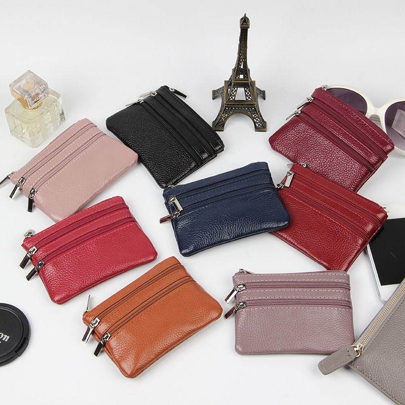 Factory direct selling new short cowhide purse women leather zipper pocket change Mini coin bag multi color
