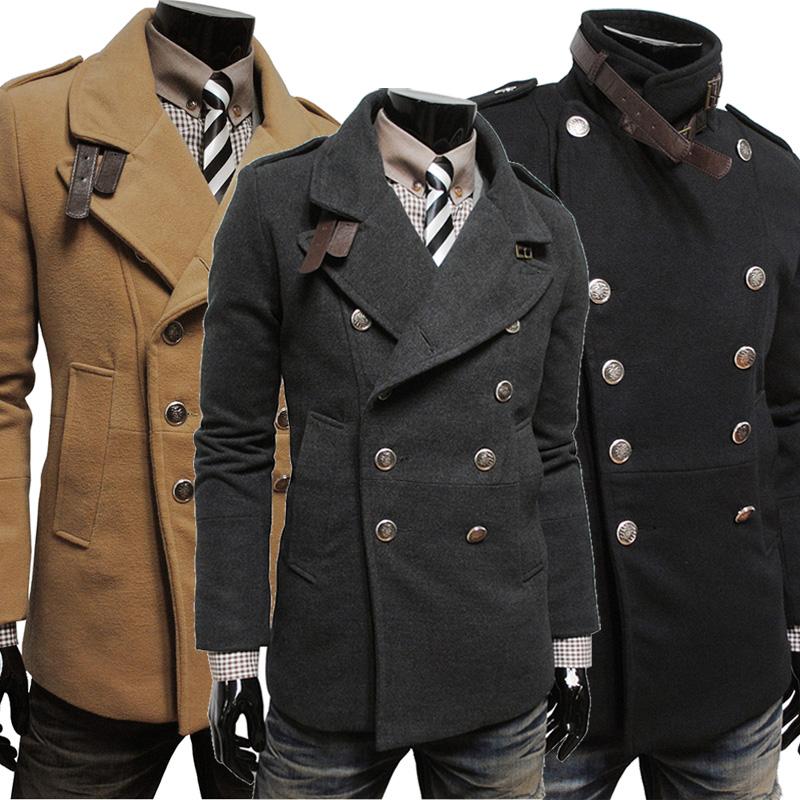 Осень/зима 2014 новый стильный двойной грудью мужчин шерстяные пальто slim теплый Корейский Мужская куртка черный