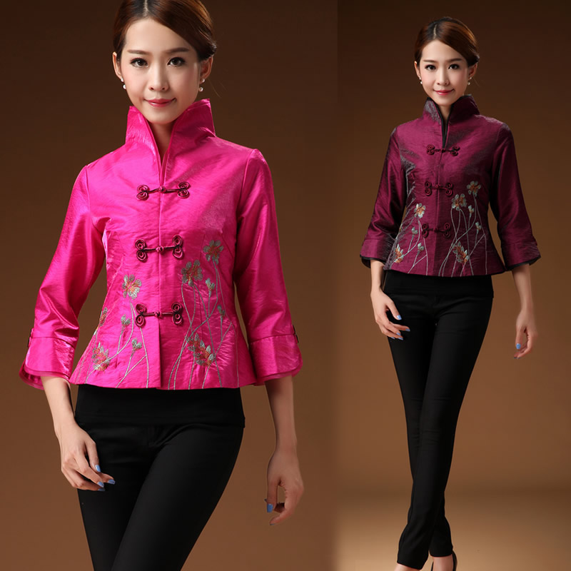Tang womens top 2018 autumn new embroidered Chinese short coat with thin waist, pan buckle stand collar thin top