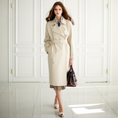 Fall 2015 new women's wear double-breasted loose super long women's trench coat in Europe and the high-grade knee-length coat