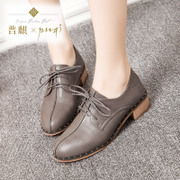 Puqichun Xia Yinglun retro chunky heels shoes with a round head with low cut shoes platform student and leisure shoes