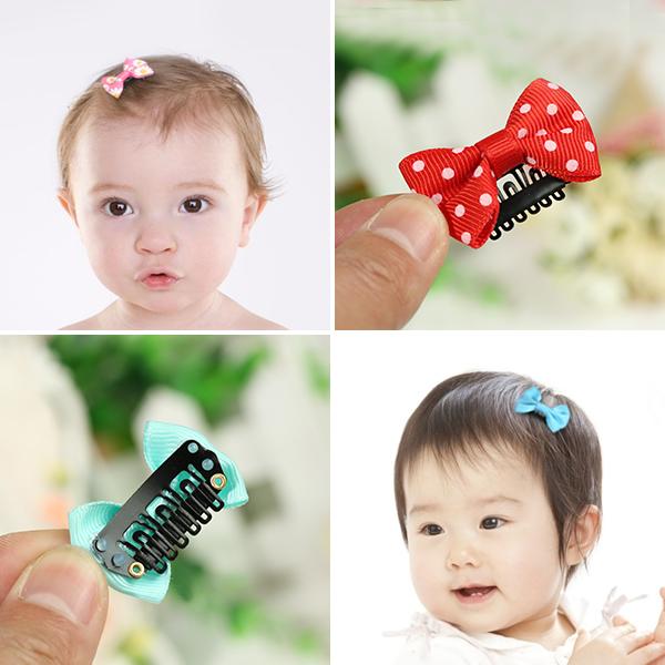 朝气童年 婴儿发夹发饰手工蝴蝶结小发卡头饰女孩夹子宝宝安全夹