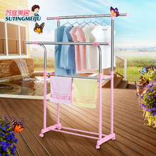 Su Tingmei's clothes hanger lifting double pole balcony bedroom floor single pole expansion pole clothes hanger