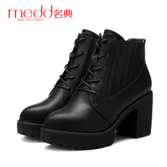 Name code 2015 new autumn and winter lace head coarse with thick-soled platform boots elastic foot high with Martin boots