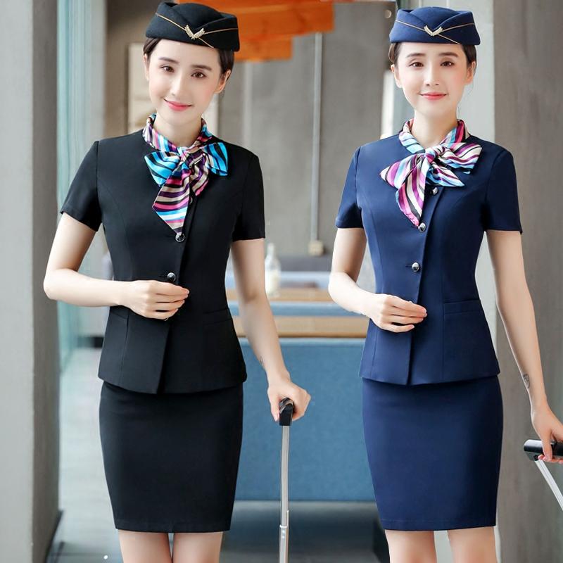 酒店工作服夏装女宾馆前台收银员套装餐饮饭店服务员短袖空姐制服