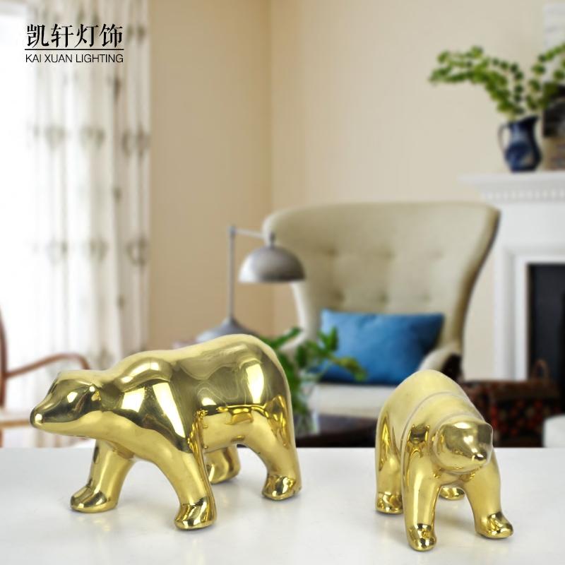 全黄铜卡通北极熊摆件 动物造型熊家居客厅书房办公室桌面工艺品