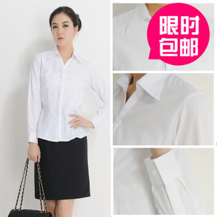 Ms White Collar Slim conventional cotton V neck collar women being white striped long sleeved shirt shirt woman