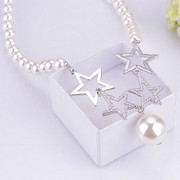 Package mail compose well temperament goddess jewelry 2015 new cute pierced five-pointed star necklace Joker